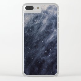 Blue Clouds, Blue Moon Clear iPhone Case