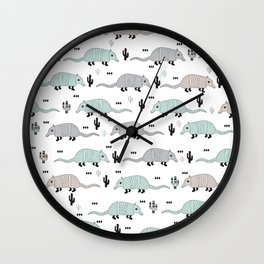 Cool western cactus desert Armadillo Animals illustration pattern Wall Clock
