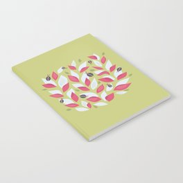 Pretty Plant With White Pink Leaves And Ladybugs Notebook