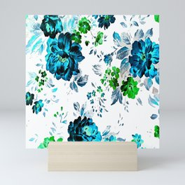 ROSES ROSES AQUA BLUE TURQUOISE Mini Art Print