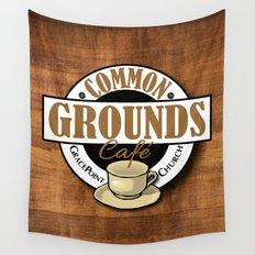 Common Grounds Cafe Logo Wall Tapestry