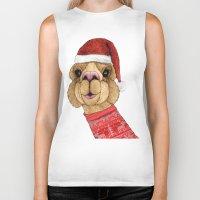 alpaca Biker Tanks featuring Alpaca Christmas by Barruf