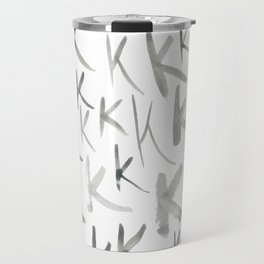 Watercolor K's - Grey Gray Travel Mug