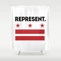 dc Shower Curtains featuring Represent DC by SquibInk