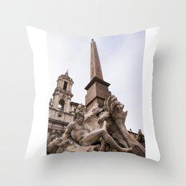 Fontana dei quattro fiumi - Ganges Throw Pillow