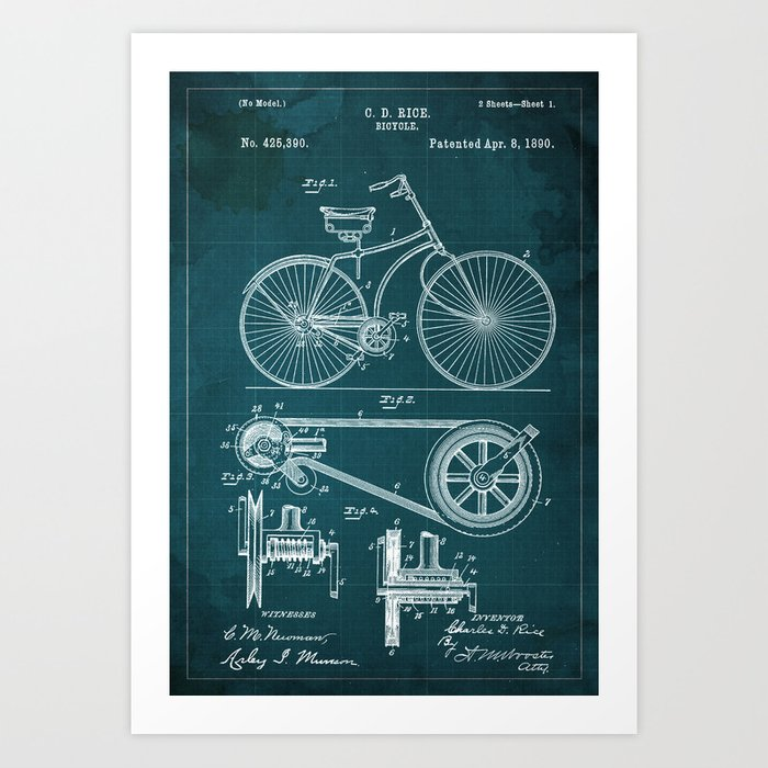 Bycicle Patent 1890, Green blueprint Art Print