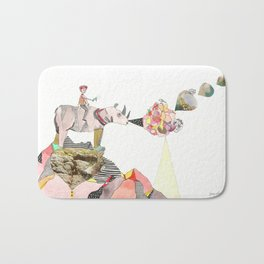 Rhinos Smell Roses Too Bath Mat