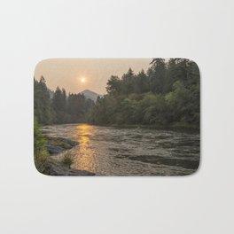 Fire Sunrise on McKenzie River Bath Mat