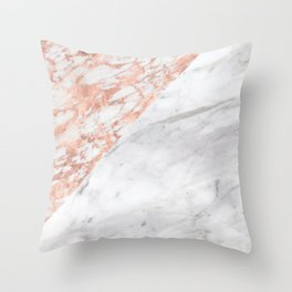 Massarosa Marchionne Bianco rose gold marble Throw Pillow