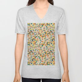 Ditsy Daisy Meadow in 60's Spring Unisex V-Neck