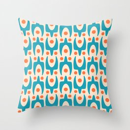Mid Century Modern Abstract Pattern 149 Turquoise and Orange Throw Pillow