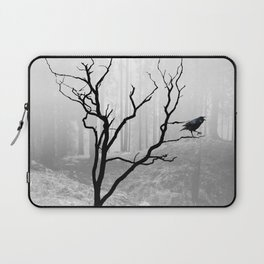 Black Crow in Foggy Forest A118 Laptop Sleeve