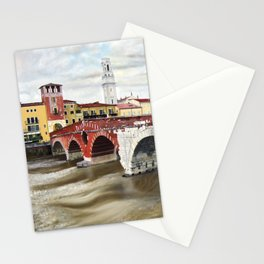 Lovers Bridge in Verona Stationery Cards