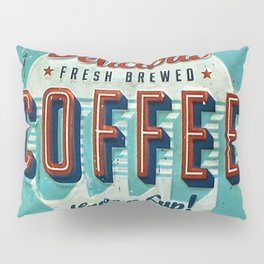Vintage Style Coffee Sign Pillow Sham