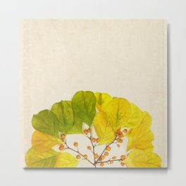 Yellow Leaf Sunrise on Vintage Paper Metal Print
