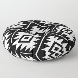 Aztec Symbol Pattern White on Black Floor Pillow