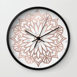 Marble mandala - floral rose gold on white Wall Clock