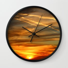 Fiery Sunset Over Naples Beach Wall Clock
