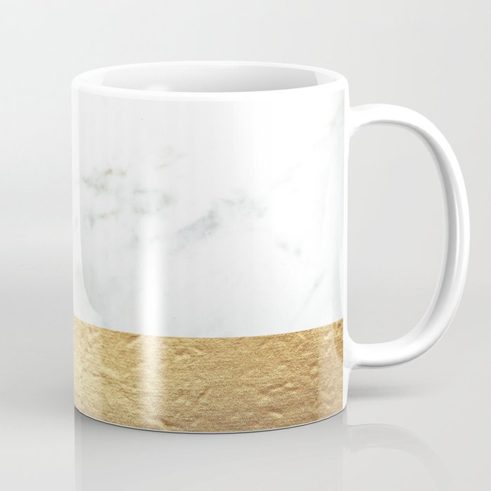 Color Blocked Gold & Marble Coffee Mug