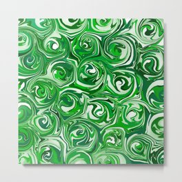 Emerald Green, Green Apple, and White Paint Swirls Metal Print