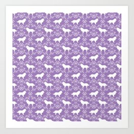 Border Collie silhouette minimal floral florals dog breed pet pattern purple and white Art Print