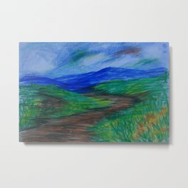 Colored Pencil Landscape CP160310a Metal Print