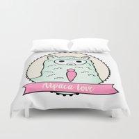 alpaca Duvet Covers featuring Alpaca Love by Stephanie Keyes Design
