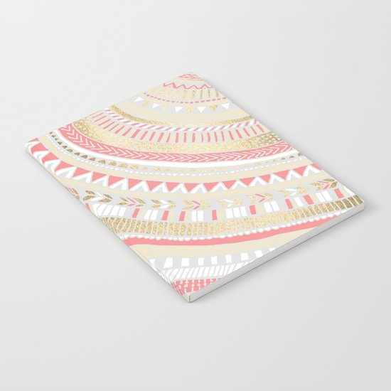 Coral + Gold Tribal Notebook
