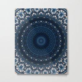 Mandala in light and dark blue tones Metal Print