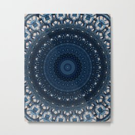 Mandala in light and dark blue tones Metal Print