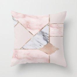 Geometric mix up - rose gold Throw Pillow
