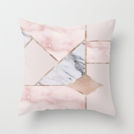 Geometric mix up - rose gold Throw Pillow