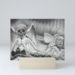 Paris Père Lachaise - Scull and Angel - black & white Photography  Mini Art Print