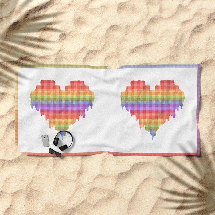 Gingham Heart Beach Towel