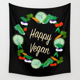 Happy Vegan Wall Tapestry