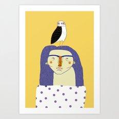 Women and Owl, owl art, people, illustration, fashion, style, Art Print
