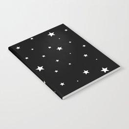 Scattered Stars - white on black Notebook