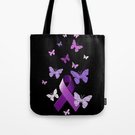 Purple Ribbon with Butterflies Tote Bag