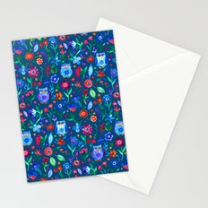 Little Owls and Flowers on deep teal blue Stationery Cards