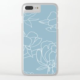 Roses, Line Drawing, White on Pale Blue Clear iPhone Case