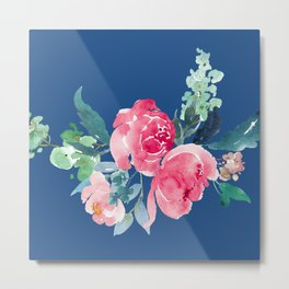 Blue and Pink Peony Watercolor Metal Print