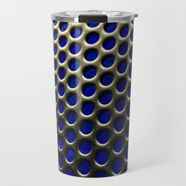 Stainless Steel Circles with Blue Travel Mug
