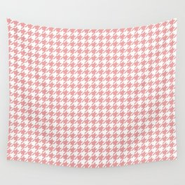 Houndstooth Rose Tan Pattern Wall Tapestry