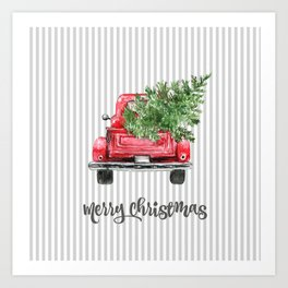 Red Truck With Christmas Tree Art Print