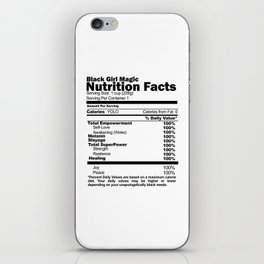 Black Girl Magic Nutrition Facts iPhone Skin