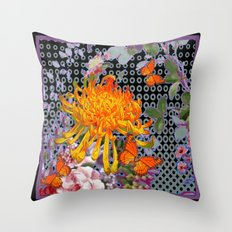 Monarch Butterflies Yellow Spider Mum Asian Floral Pattern Throw Pillow