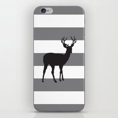 Deer in Black on Grey and White Stripes iPhone & iPod Skin