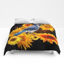DECORATIVE BLUE JAY YELLOW SUNFLOWERS BLACK ART Comforters