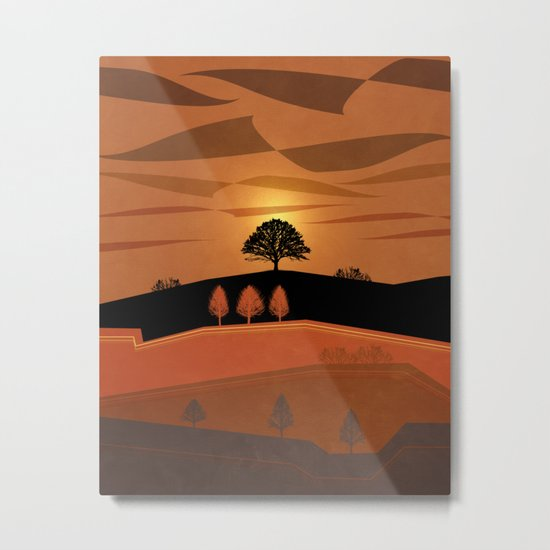 Retro Sunset Metal Print