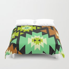 Ethnic shapes in green and brown Duvet Cover
